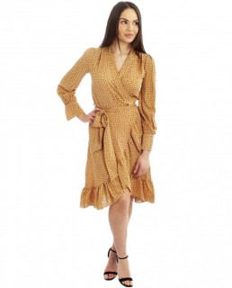 Beige Speckle Wrap Midi Dress