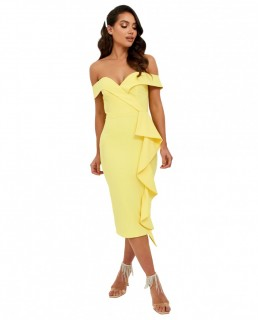 Lavish Alice Yellow Bardot Midi Dress