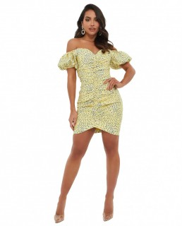 Lavish Alice Yellow Floral Off Shoulder Puff Sleeve Mini Dress