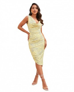 Lavish Alice Yellow Floral Cowl Neck Asymmetric Midi Dress