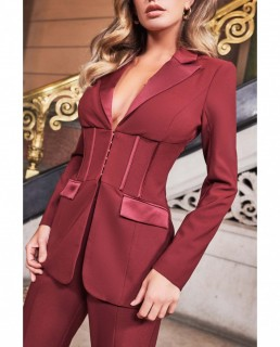 Lavish Alice Burgundy Corset Style Tailored Jacket And Flare Trousers