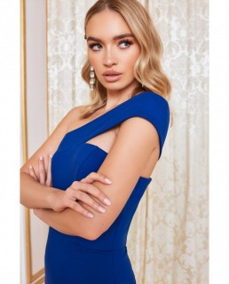Lavish Alice Navy Sweetheart Off The Shoulder Wrap Dress