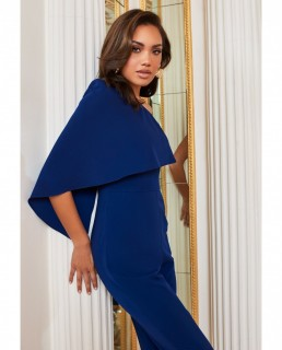 Lavish Alice Navy One Shoulder Cape Jumpsuit