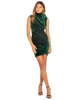 Bianca & Bridgett Emerald Natalia Short Velvet Dress