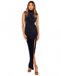 Bianca & Bridgette Navy Lauren Maxi Thigh Split Velvet Dress