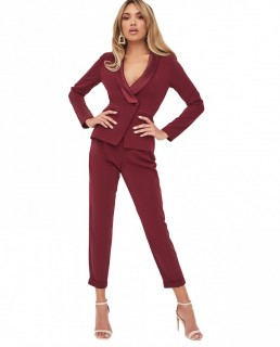 Lavish Alice Cutout Back Satin Tailored Burgundy Jumpsuit
