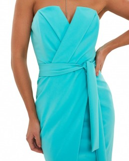 Lavish Alice Aqua Straight Bandeau Midi Dress