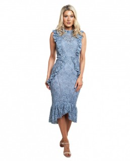 Hope & Ivy Blue Ruffle Lace Midi Dress