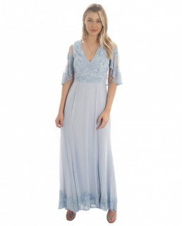 Frock & Frill Baby Blue Sequin Maxi Dress