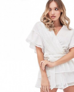 Lavish Alice Pleated Sequin Frill Double Tiered Playsuit In White Sequin