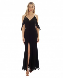 Jarlo Cami Strap Black Maxi Dress With Frill Detail