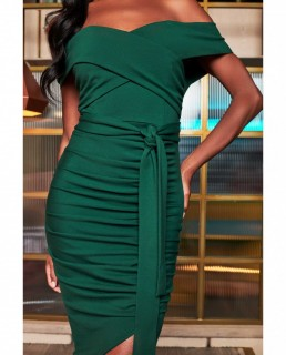 Lavish Alice Forest Green Bardot Ruched Side Midi Dress