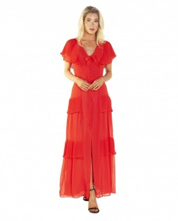 Topshop Red Pleated Maxi Dress