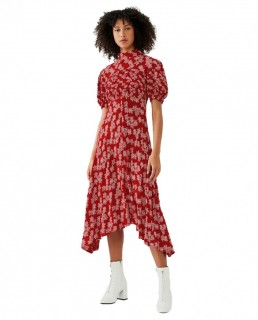 Ghost Red Floral Jenna Midi Dress