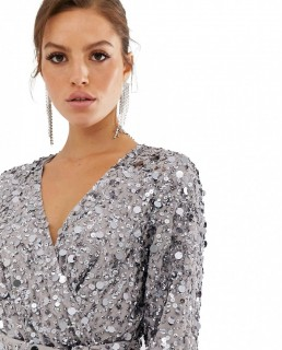 ASOS EDITION Wrap Midi Dress In Disc Sequin