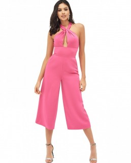 Lavish Alice Halterneck Twisted Culotte Jumpsuit In Hot Pink