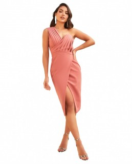 Lavish Alice Dusty Rose One Shoulder Pleated Midi Dress