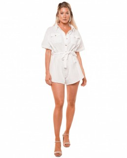 Runaway The Label White Shirt Style Playsuit