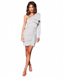 Lavish Alice Silver One Sleeve Bow Shoulder Sequin Mini Dress