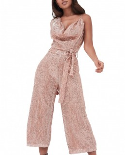 Lavish Alice Pleated Sequin Cowl Neck Culotte Jumpsuit In Pink Sequin