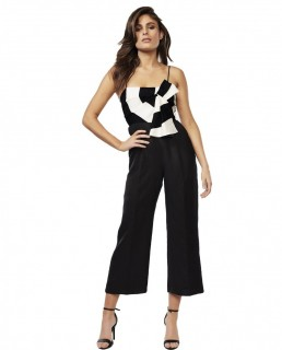 Bardot Black And White Striped Jumpsuit