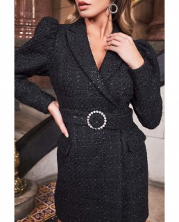 Lavish Alice Black Puff Sleeve Boucle Blazer Dress