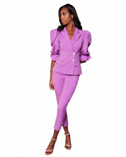 Lavish Alice Purple Balloon Sleeve Blazer And Corset Waist Trousers