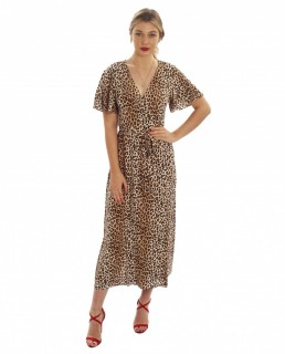 Seven Wonders Leopard Print Wrap Midi Dress