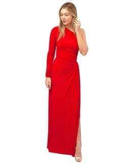Gorgeous Couture Red One Shoulder Asymmetric Maxi Dress