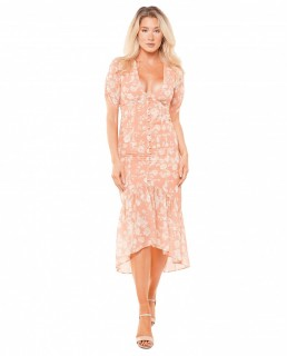 Hope & Ivy Orange Imogen High Low Dress