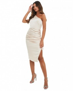Lavish Alice Stone Satin One Shoulder Ruched Side Midi Dress