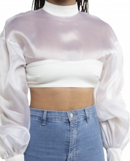House Of CB Ivory Allena Organza Blouson Sleeve Top