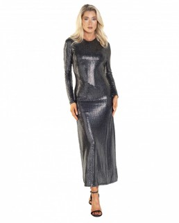 Bardot Mirror Dress In Silver Sequin