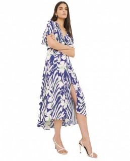 French Connection Clement Blue Diah Crepe Wrap Dress
