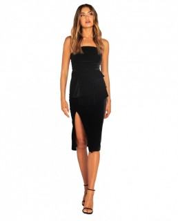 Bianca & Bridgett Black Morgan Strapless Velvet Dress