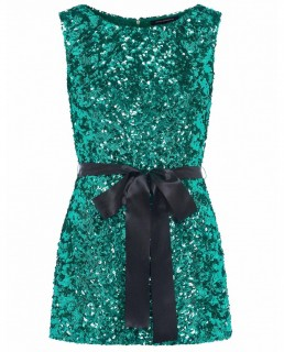 French Connection Pepper Green Cassia Embellished Belt Dress