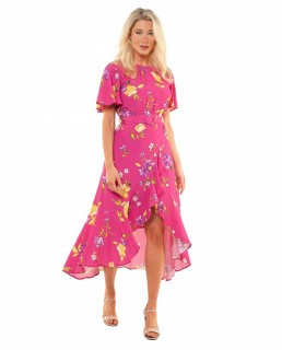 French Connection Very Berry Emina Drape Dress
