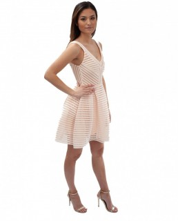 Maje Cream Ribbed Skater Dress