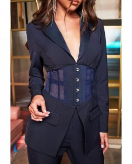 Lavish Alice Midnight Blue Satin Corset Blazer And Satin Trousers