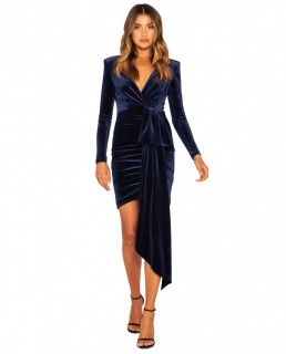 Bianca & Bridgette Navy Arielle L/S Short Velvet Dress