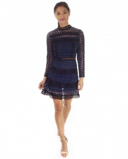 Navy Lace Dress With Star Detail And Tiered Skirt