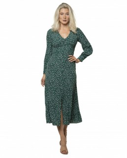 Whistles Green Leopard Printed Midi Dress