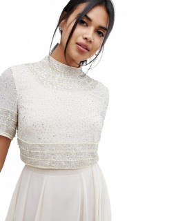 ASOS DESIGN Midi Dress With High Neck Crop Top In Delicate Embellishment