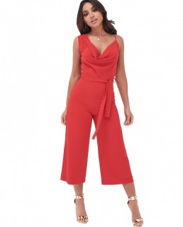 Lavish Alice Cowl Neck Culotte Jumpsuit In Red