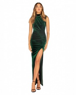 Bianca & Bridgett Emerald Lauren Maxi Thigh Split Velvet Dress