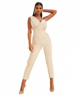Lavish Alice Champagne One Shoulder Pleated Jumpsuit