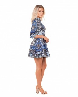 Comino Couture Blue Hue Folk Print Dress