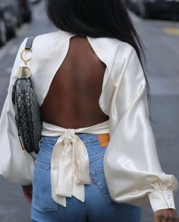 Pretty Lavish Oyster Pia Backless Blouse