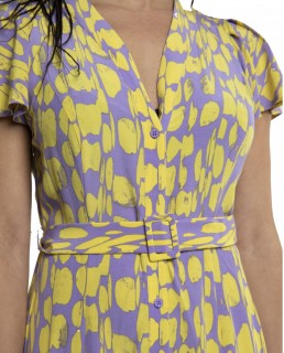 French Connection Soft Violet Islanna Crepe Printed Midi Dress