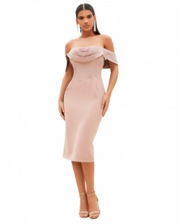Lavish Alice Mink Pleated Bardot Satin Mix Midi Dress